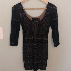 H&M Black Lace nude dress